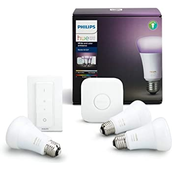 Philips Hue Kit 3 Bombillas Inteligentes LED E27 con Puente y Mando, 9.5 W, Luz Blanca y de Colores, Compatible con Alexa y Google Home