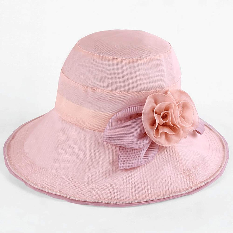 YD Hat  Women's Summer Sun Predection Visor Seaside Holiday UV Predection Beach Hat Fashion Silk WideBrimmed Sun Hat Foldable (Multicolor Selection)    (color   C)
