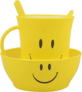 Kids Fashion Smiley Mug Set with Bowl, Spoon, Fork - Pack of 12