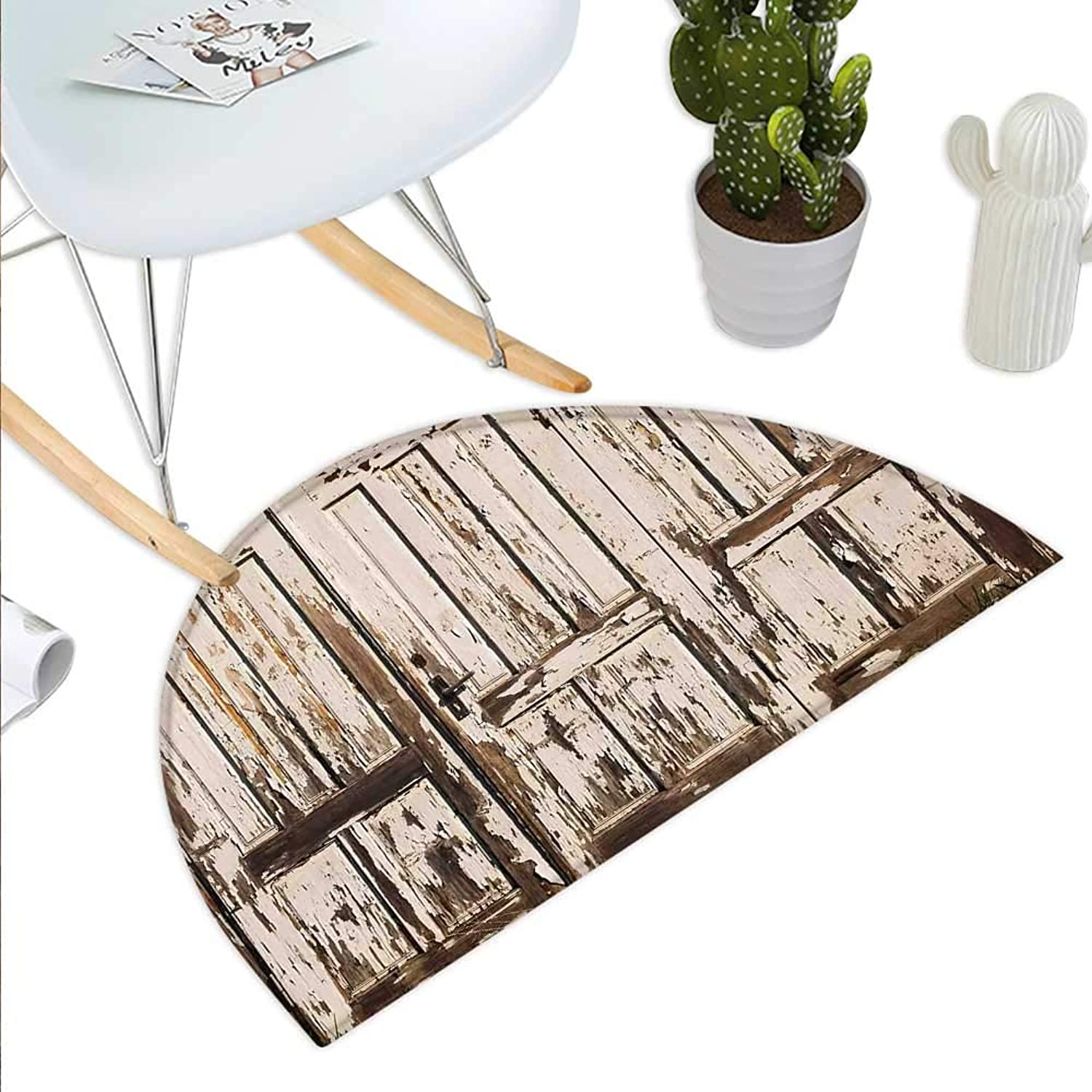 Rustic Semicircle Doormat Vintage House Entrance with greenical Old Planks Distressed Rustic Hardwood Design Halfmoon doormats H 43.3  xD 64.9  Brown White