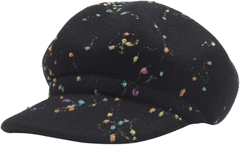 Ruiyue Autumn Winter Retro Graffiti Wool Beltlet New Fashion Cap Hat for Female