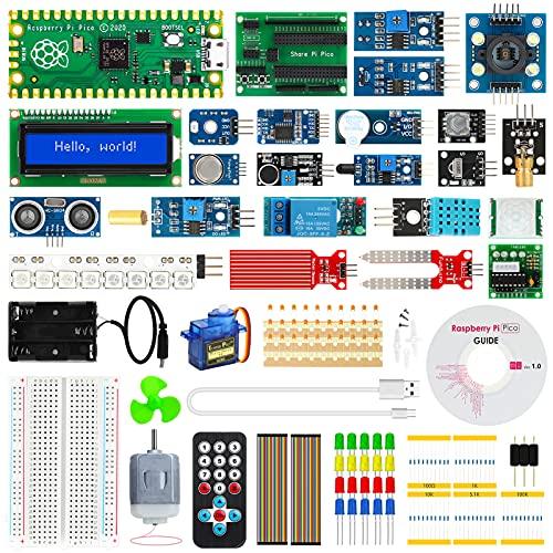 STUUC Raspberry Pi Pico Starter Kit,Mikrocontroller-Entwicklungsboard mit RP2040 Chip,14 Sensortypen,62 Zubehörsatze,Pico Kit unterstützt C C++ Python,für Raspberry Pi Anfänger,Softwareentwickler