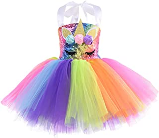 FENICAL Tutu Skirt Unicorn Rainbow Dress Mesh Skirt Sequins Photography Princess Party Dress for Kids Girls - Purple 2T