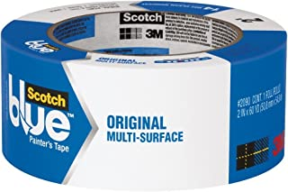 3M Scotch-Blue 2090 Safe-Release Crepe Paper Multi-Surfaces Painters Masking Tape, 27 lbs/in Tensile Strength, 60 yds Length x 2