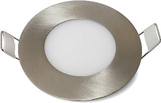 Plafonnier LED rond 3 W/6 W/9 W/12 W à intensité variable Argent brossé Plafonnier LED ultra fin Blanc chaud, 3w, B15d 3.0...