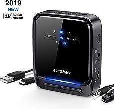 ELEGIANT Transmisor Bluetooth 5.0, Receptor Inalámbrico 2 en 1 Audio HD AptX HD de Baja Latencia con Toslink Óptico/SPDIF para TV Altavoz Estéreo Portátil Auriculares Cascos