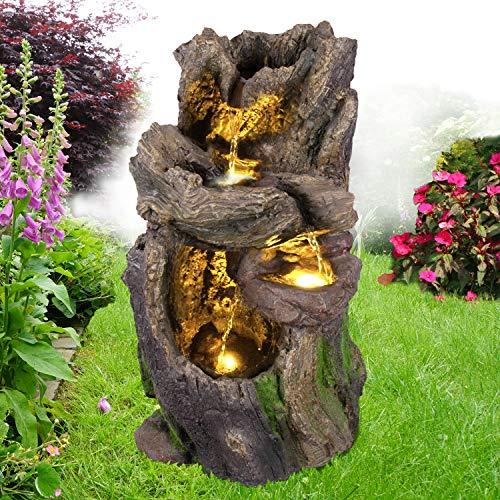 Gartenbrunnen Brunnen Zierbrunnen Zimmerbrunnen Springbrunnen Brunnen Wald-BÄCHLEIN mit LED-Licht 230V Wasserfall Wasserspiel für Garten