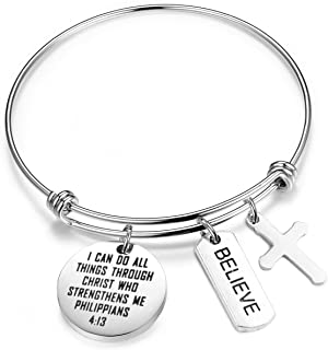 I Can Do All Things Through Christ Who Strengthens Me Charm Bracelet Phil 4;13 Scripture Jewelry Christian Gifts Verse Bible Bracelet For Woman
