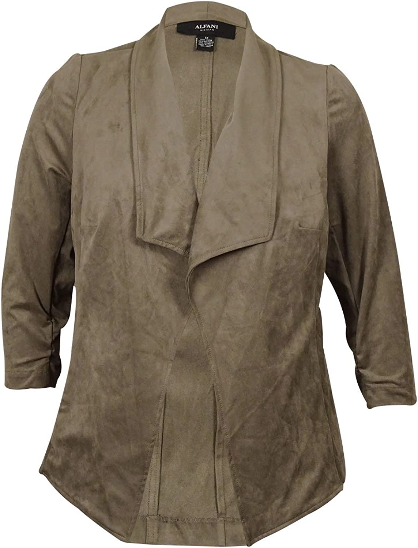 Alfani Petite Faux Suede Open Front Jacket