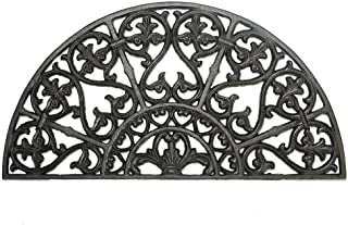 Sungmor Heavy Duty Cast Iron Doormat - Vintage & Beautiful Vine Design & 62CM/24.4INCH Large Semicircle Front Door Mat - N...