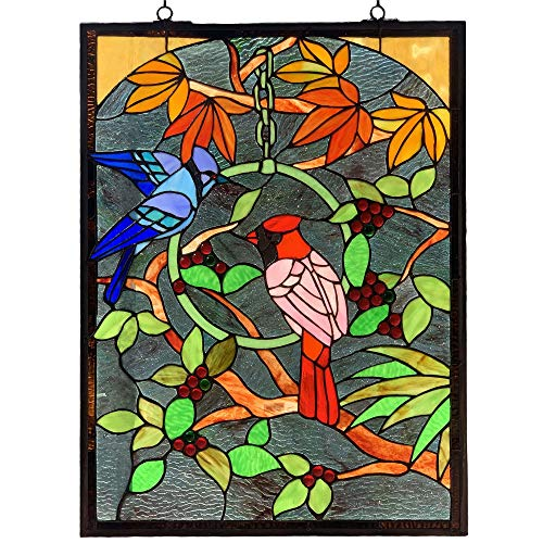 Bieye W10052 Blue Jay and Cardinal on Branches Tiffany Style Stained Glass Window Panel with Chain, Rectangle Shape, 18' W x 24' H