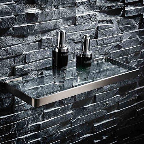 Bathroom Rack YSJ Étagère rectangulaire en Verre de Salle de Bains fixée au Mur Verre trempé Extra épais, brossé (Taille : 36 * 13.6cm)