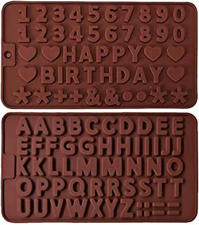Silicone Chocolate Molds,Silicone Letter Mold and Number Chocolate Molds with Happy Birthday Cake Decorations Symbols 2pcs