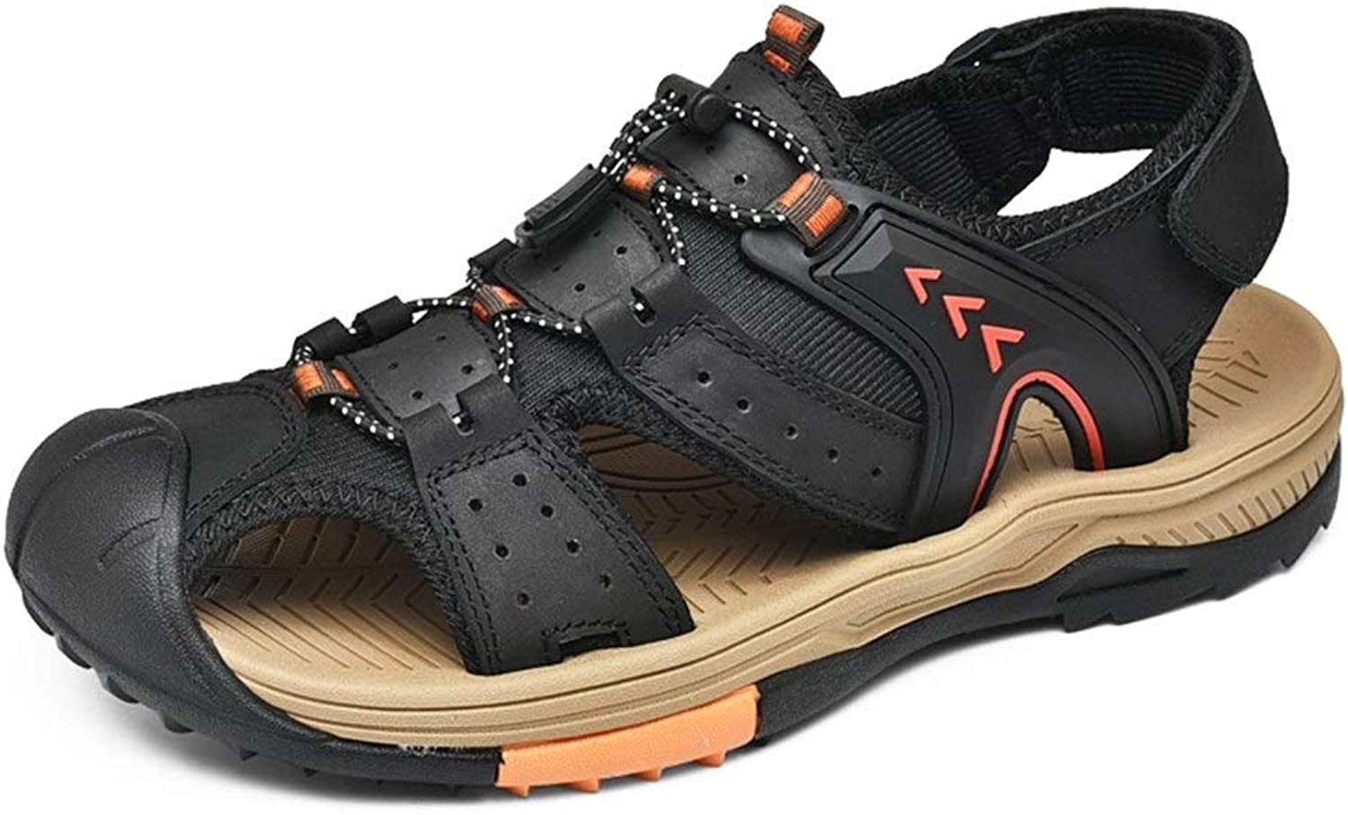 ANNFENG Fashion Tropical Summer Beach Outdoor Casual Lightweight Waterproof Sandals For Men Comfort Leisure Water shoes Slip On Style OX Leather Hook&Loop Strap Hollow Flexible Elastic Decor