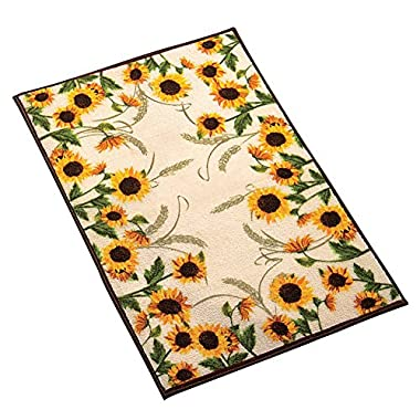 Collections Etc Autumn-inspired Sunflower Harvest Rug, Yellow, 22  X 60