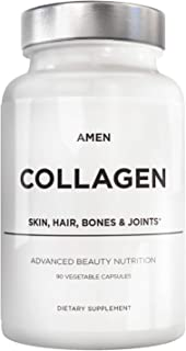 Amen Multi Collagen Peptides Capsules with Hyaluronic Acid and Vitamin C - 5 Types of Grass Fed Hydrolyzed Collagen Protein Type I, II, III, V, X - Amino Acids - Natural Collagen Supplement - 90 Pills