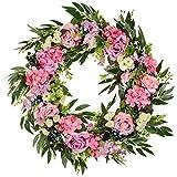 Rosenkranz, 50,8 cm, für Haustür, künstliche Blume, Hortensien, Blaubeere, Weidenblätter, Zweige, Türkranz für Zuhause, Party, Innen- & Außenbereich, Fensterwand, Hochzeitsdekoration