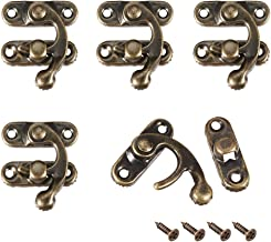 uxcell Antique Vintage Lock Clasp Right Latch Hook Hasp 32mm x 27mm Swing Arm Latch Plated Bronze, 5 pcs w Screws