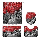 KREATIVE ARTS Canopy of Red Trees in Surreal Black and White Landscape Scene in Central Park New York City Shower Curtain Set with Non-Slip Rug, Toilet Lid Cover, Bath Mat and 12 Hooks
