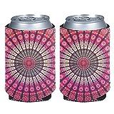 chaqlin Mandala Slim Can Sleeve Set de 2 piezas de neopreno aislado lata bebidas refrigeradores cubiertas para bebidas energéticas y latas de cerveza