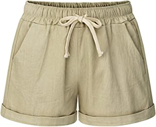 Women's Drawstring Elastic Waist Casual Comfy Cotton Linen Beach Shorts