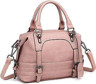 Miss Lulu Damen Henkeltasche Top Griff Handtasche PU Elegante Schulterbeutel Viele Fächer (Pink)