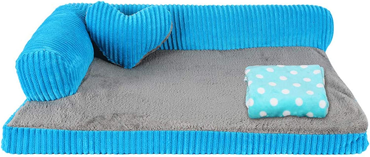 Qz Orthopedic Dog Bed for Small Medium Large Dogs, Indestructible Puppy Kennel Beds For Cat Pet, bluee (Size   S 55×45×15cm)