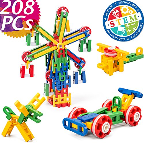 cossy STEM Learning Toy Engineering Construction Building Blocks 208 Pieces Kids Educational Toy for Boys and Girls Ages 3 4 5 6 7 8 9 Year Old 208 Pcs