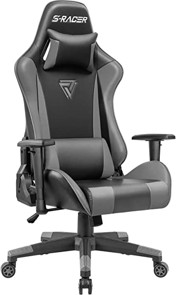 Homall Gaming Office Chair High Back Computer Chair Racing Style Swivel Chair PU Leather Bucket Seat Desk Chair With Adjustable Armrest Ergonomic Headrest And Lumbar Support Grey