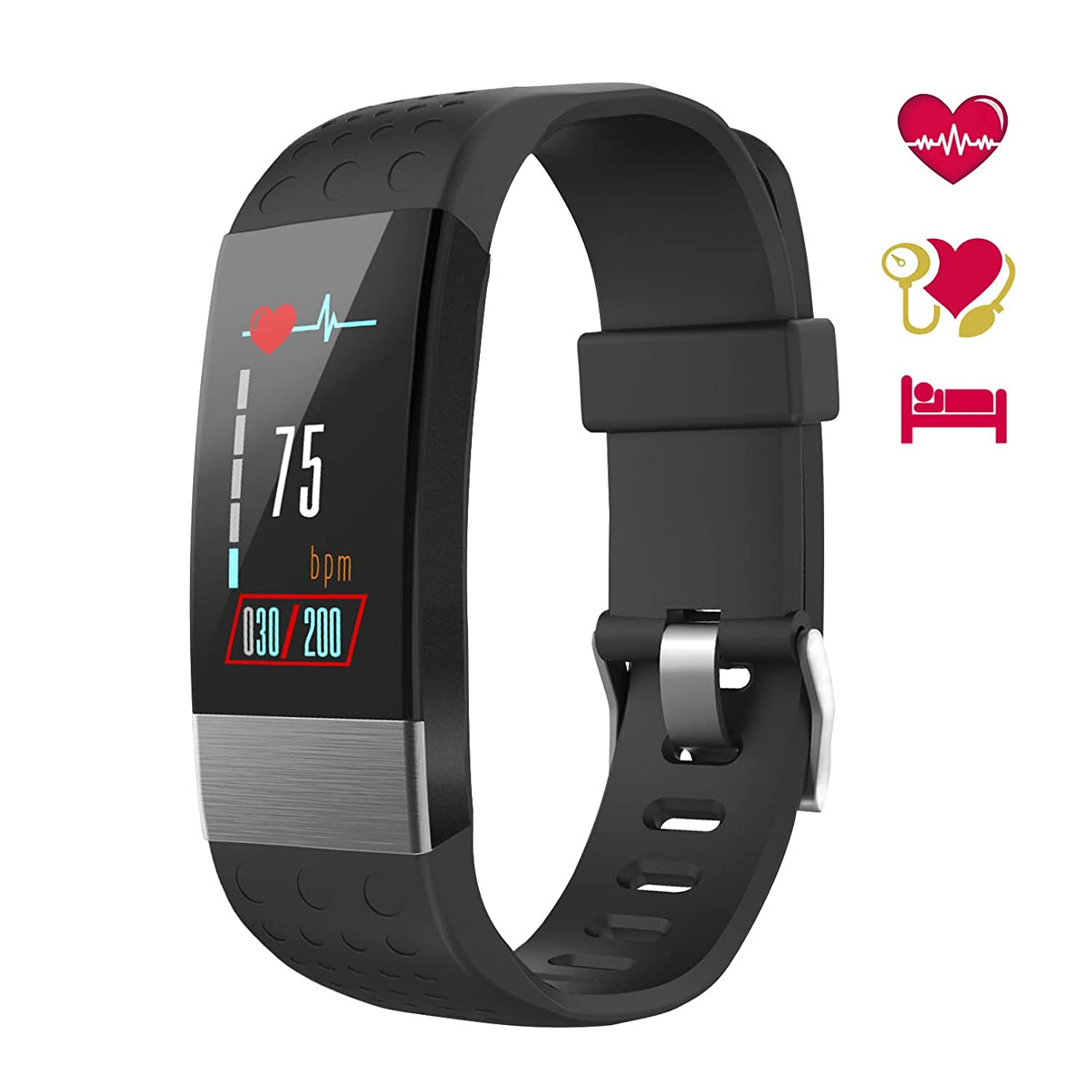 Smart Watch with Blood Pressure Monitor, Fitness Tracker Watch IP67 Waterproof Heart Rate Monitor Activity Tracker Calorie Counter Pedometer Sleep Monitor Kids Men Women Black