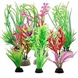 Plantas de plástico para acuario, 9 piezas de pecera, plantas acuáticas artificiales, plantas acuáticas de acuario, plantas de plástico para pecera, decoración de diseño natural