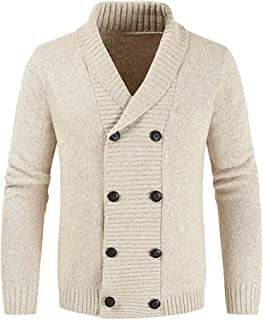Mens Knitted Cardigan Thick Sweater Double Row Buttons Closure Jumper Autumn Winter Overcoat