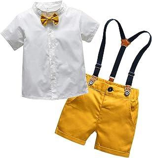 ملابس SANGTREE للصبيان الرضع، قميص فستان مع ربطة عنق + سراويل قصيرة للتعليق