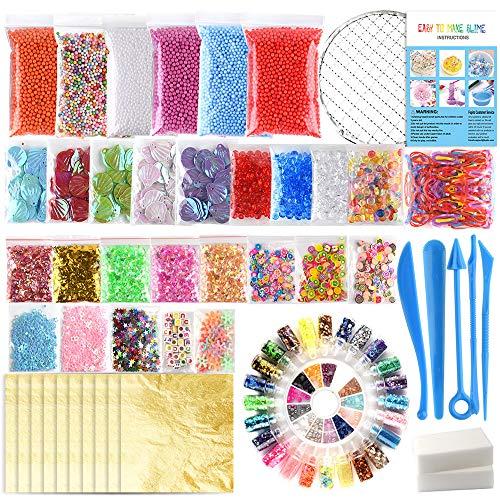 FEPITO 84 Paquete SlimeSupplies kit que incluye espuma bolas, bolas pecera, red, Shell, esponja Cubo, rebanadas, de la goma, hoja de oro de imitación, de papel de azúcar, confeti (no contienen limo)
