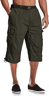 MAGCOMSEN Men's Capri Pants with 7 Pockets Twill Elastic Below Knee Cargo Shorts 3/4 Capri Long Shorts