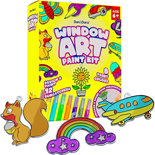 Window Art Paint Kit for Kids  Arts and Crafts for Girls amp Boys Ages 612  Craft Kits Art Set  Supplies for Painting Suncatchers  Best Paint Gift Ideas for Kids Activities Age 6 7 8 9 10