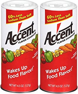 Ac'cent Flavor Enhancer 00054 All Natural 4.5 Oz. Wakes Up Food Flavor Canister (Pack of 2); Ideal for Meats, Poultry, Veg...