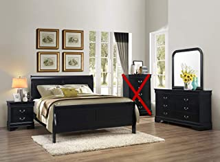 GTU Furniture Classic Louis Philippe Styling Black 4Pc Queen Bedroom Set(Q/D/M/N)