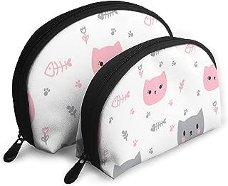 Eratdatd Lovely Catfish Bones Shell Portable Zipper Bag 2 Bags, Suitable for Women Cosmetics, Handbags/Handbags, Women Accessories.