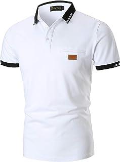 YIPIN Hombre Polo Manga Corta Costura en Contraste Escote Básico Golf Camisa Poloshirt Negocios Camiseta de Tennis Verano