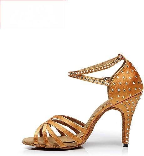 Chaussures De Danse Latine avec Diamant Satiné dans La Balance Sandales à Talons Hauts, VêteHommests Confortables, Non-Slip Femme Adulte, Eu41, jaune5.5Cm