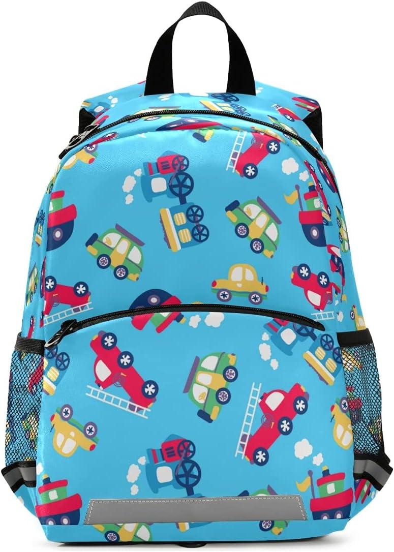 OREZI Toddler Backpack for Boys Girls,Transportation Red Cartoon Cars Kid's Backpack,Kindergarten Children Bag Preschool Nursery Travel Bag Daycare Bag with Safety Leash