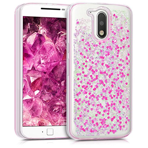 kwmobile TPU Silicone Case for Motorola Moto G4 / Moto G4 Plus - Soft Flexible Protective Cover with Flowing Liquid - Hearts Snow Globe Dark Pink/Transparent