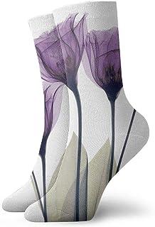 tyui7, Calcetines de compresión transparentes de lavanda antideslizantes Cosy Athletic 30cm Crew Calcetines para hombres, mujeres, niños