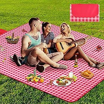 AURTEC Tapis de pique-nique extérieur, tapis de plage, 57 po x 79 po, tapis de couverture imperméable et anti-poussière pour le camping, les pique-niques, la randonnée, la plage et plus encore (Rouge)