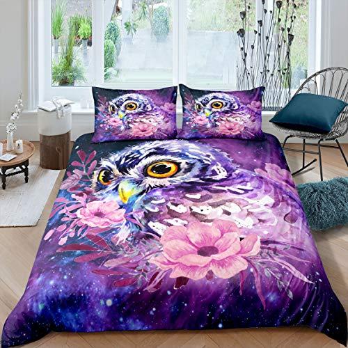 Juego de ropa de cama con diseño de búhos de color lila, con estampado floral en 3D, funda de edredón para niños y niñas, diseño de animales nocturnos