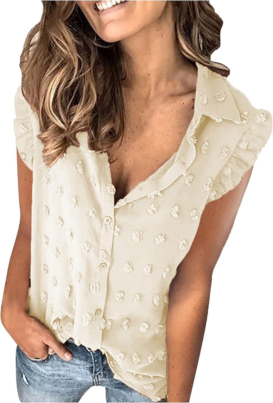 Womens V Neck Chiffon Blouse Pom Pom Ruffled Sleeveless Button Shirt Tops Office Work Plus Size Vest