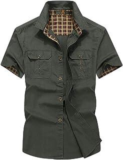 ミリタリー 半袖 シャツ カジュアルシャツミリタリーシャツメンズ アウター 半袖ミリタリーシャツカーゴ 男性着 メンズ 半袖 ボタン シャツ