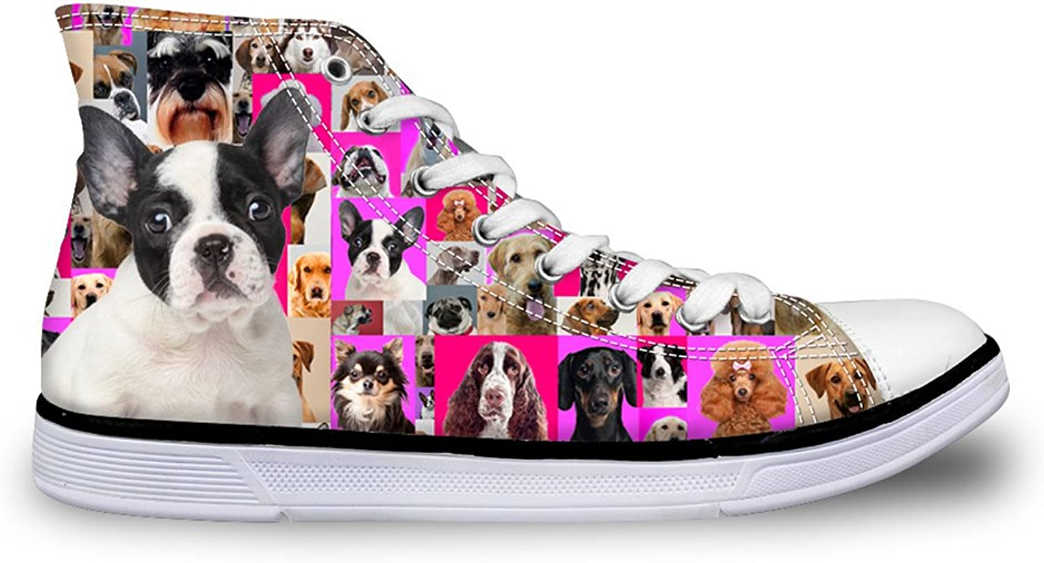 HUGSIDEA Dogs Print High Top Canvas shoes Trainers Sneakers for Women