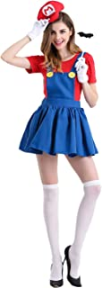 Women's Super Mario Skirt Halloween Costume Super Plumber Fancy Dress Costume for Halloween Christmas Party Cosplay